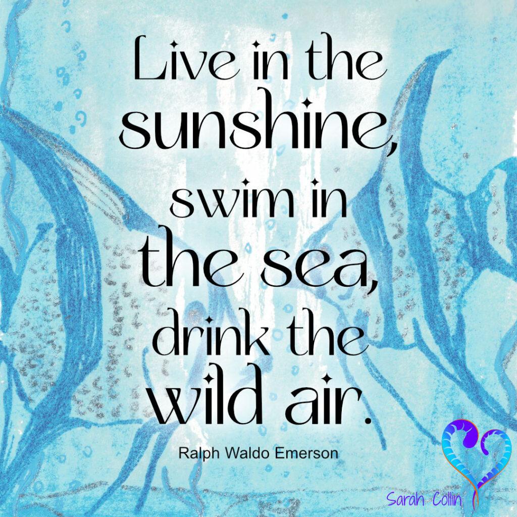 """Live in the sunshine, swim in the sea, drink the wild air.""  Ralph Waldo Emerson"